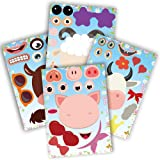 partyGO 24pcs Make A Farm Animal Stickers Sheets, Kids Farm Themed Birthday Party Favors Supplies, Yard Sale Stickers…