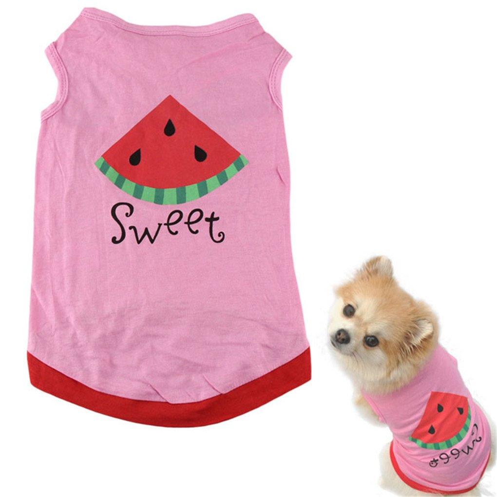 haoricu Dog Vest, Summer Watermelon Printed Pet Clothing Pet Costume Small Pet Dog Puppy Cat Clothes Apparel T shirt Vest (S, Pink)