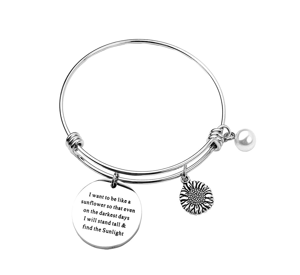 RUNXINTD Sunflower Charm Bracelet Sunflower Jewelry I Want to be Like a Sunflower Floral Bangle Bracelet Inspirational Gift for Womens, Girls Girls (Keychain) 18RX11BR01