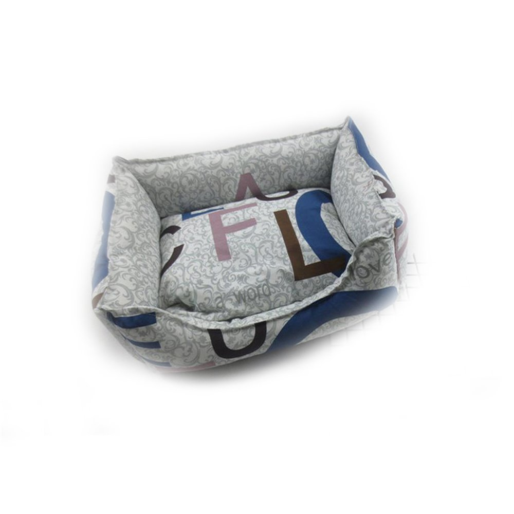 A 6050cm A 6050cm YunYilian Pet Bolster Dog Bed Comfort Cloth Type Pet Nest Breathable Kennel Removable Cushion cat Litter Bed (color   A, Size   60  50cm)
