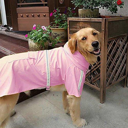 Dog Raincoat Leisure Waterproof Lightweight Dog Coat Jacket Reflective Rain Jacket with Hood for Small Medium Large Dogs(Pink,XL)