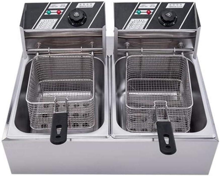 JSHFD Freidora eléctrica Freidora eléctrica con Canasta de Acero Inoxidable Capacidad de Aceite de 12 litros Restaurante Encimera Cocina Familiar Cocción (Tanque Doble): Amazon.es