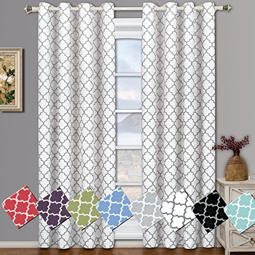 Meridian White Grommet Room Darkening Window Curtain Panels, Pair / Set of 2 Panels, 52x84 inches Each, by Royal Hotel