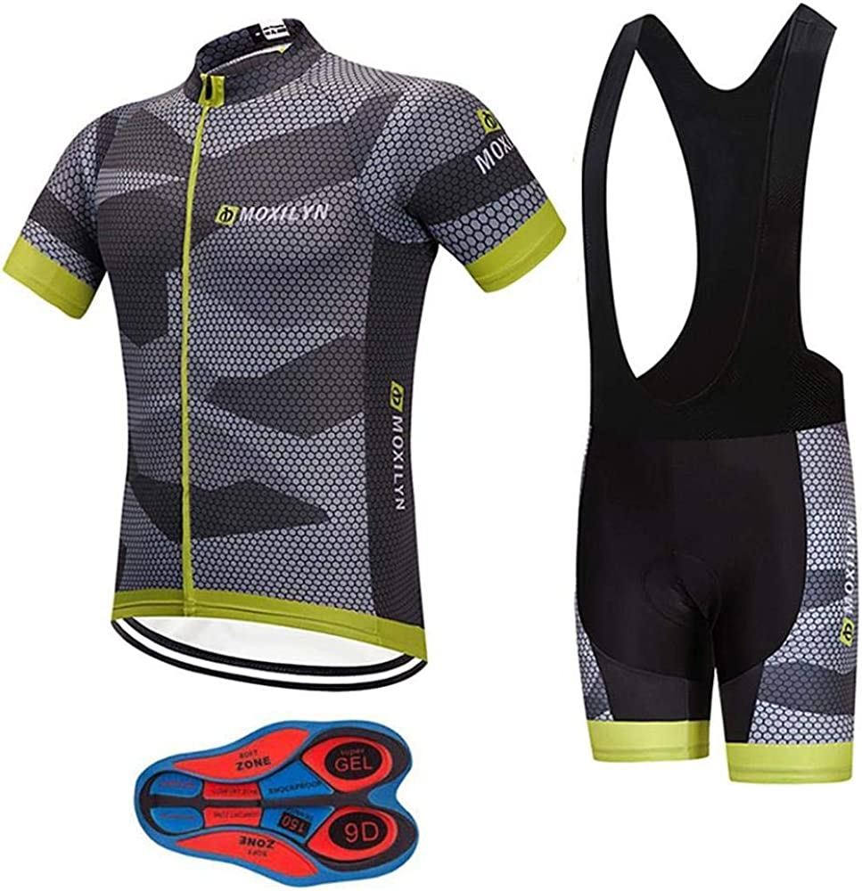 Men's Quick-Dry Cycling Jersey Set Road Bike Bicycle Shirt + Bib Shorts with 9D Gel Padded MTB Riding Clothing kit