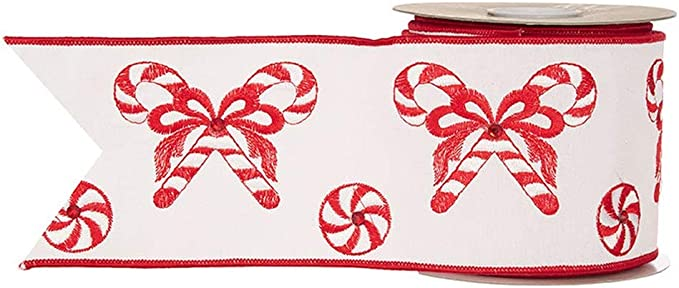 """Raz Imports Kringle Candy Co 4/"""" X 10 Yards Gingerbread Wired Ribbon"""
