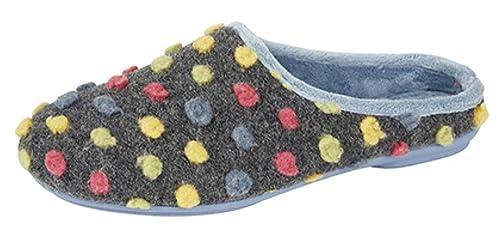 Zapatillas de andar por casa para mujer con diseño de lunares y suela de