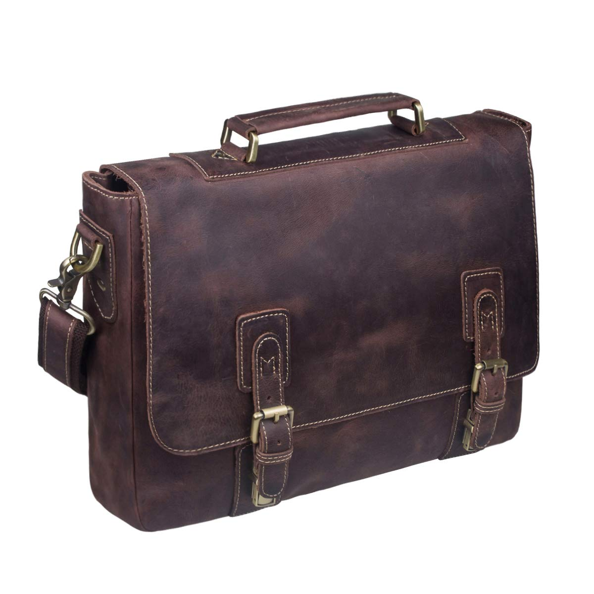 S-ZONE Men's Crazy Horse Leather Satchel Briefcase Shoulder Bag Messenger Bag 14'' Laptop Tote Bag