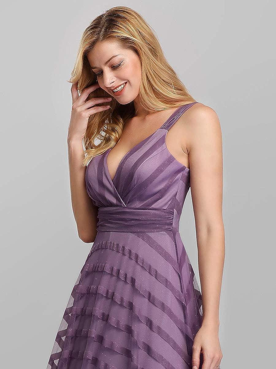 Ever-Pretty Robe de Soir/ée Longue Femme /à Rayures Brillants Taille Empire Col en V A-Line 07898
