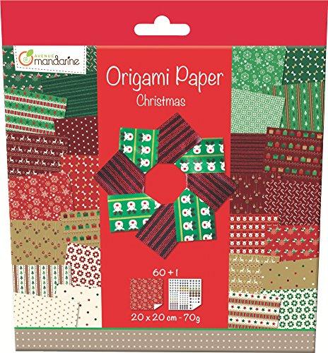 Avenue Mandarine 52508O - Origami Papier Weihnachten, 20 x 20 cm, 60 Bl, 70 g