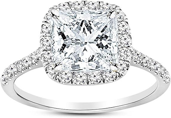 3Ct Moissanite Engagement Ring 14K Solid Gold Ring Princess Cut Halo Ring Princess Cut Diamond Engagement Ring Halo Ring Princess Ring