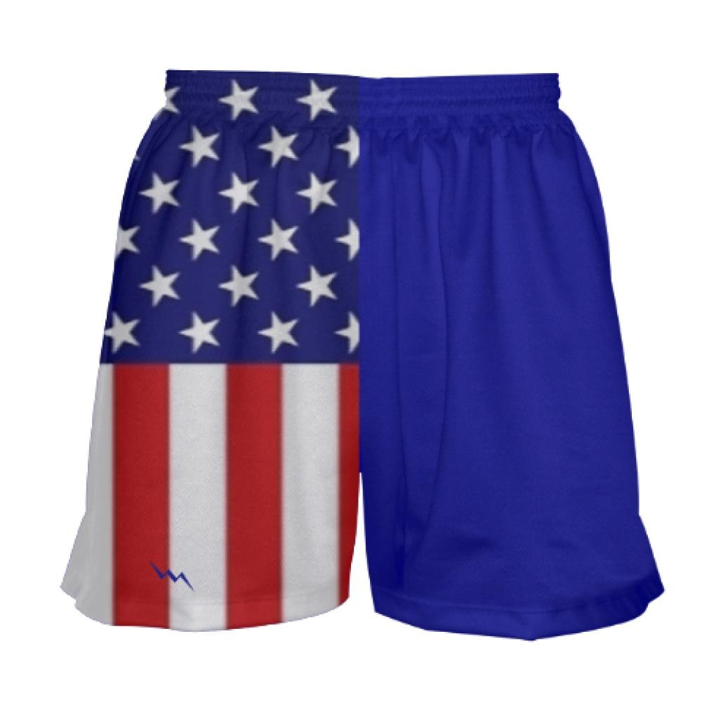 Blue Youth Girls Lacrosse Shorts Stars and Stripes Youth