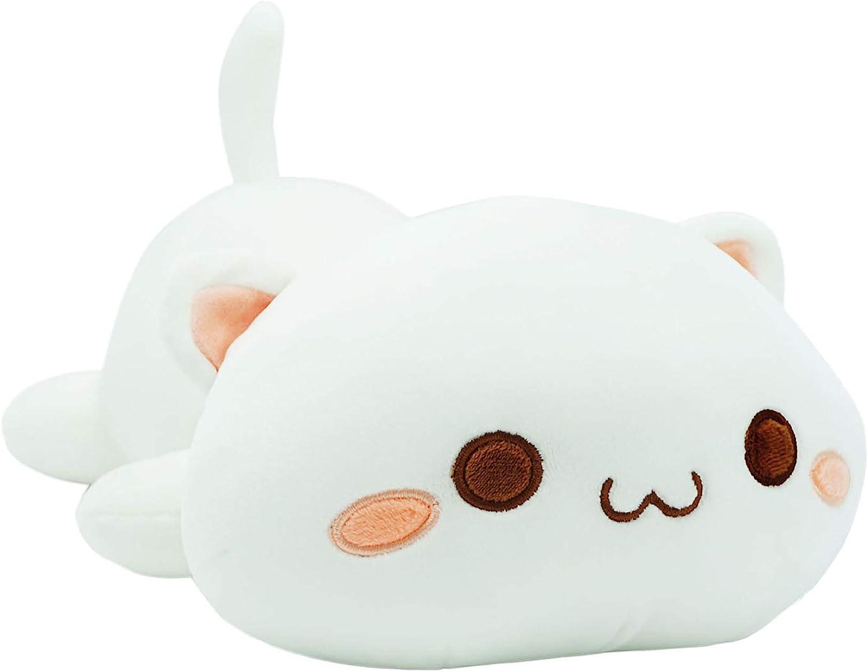 "Cute Kitten Plush Toy Stuffed Animal Pet Kitty Soft Anime Cat Plush Pillow for Kids (White A, 12"")"
