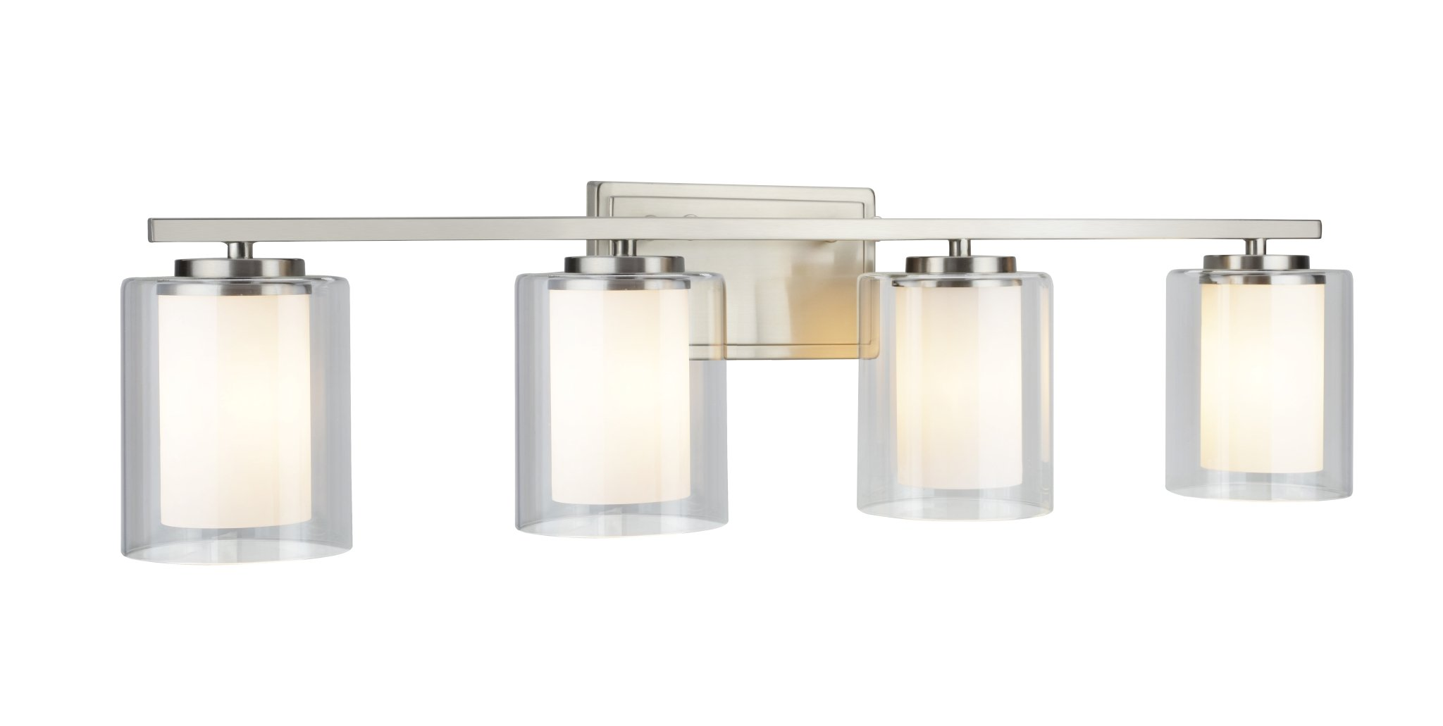 Aspen Creative 62104, Four-Light Metal Bathroom Vanity Wall Light Fixture, 32'' Wide, Transitional Design in Satin Nickel with Clear Glass Shade by Aspen Creative (Image #4)
