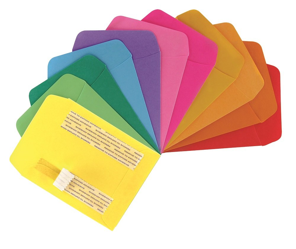 Hygloss Products Library Card Pockets, Self-Adhesive, 3.5 x 4.875 in, 30 Pockets, 10 Assorted Colors