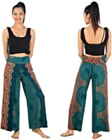 Boho Palazzo Wide Leg Side Slits Belly Gypsy Hippie Harem Pants Trousers Rose Teal Green
