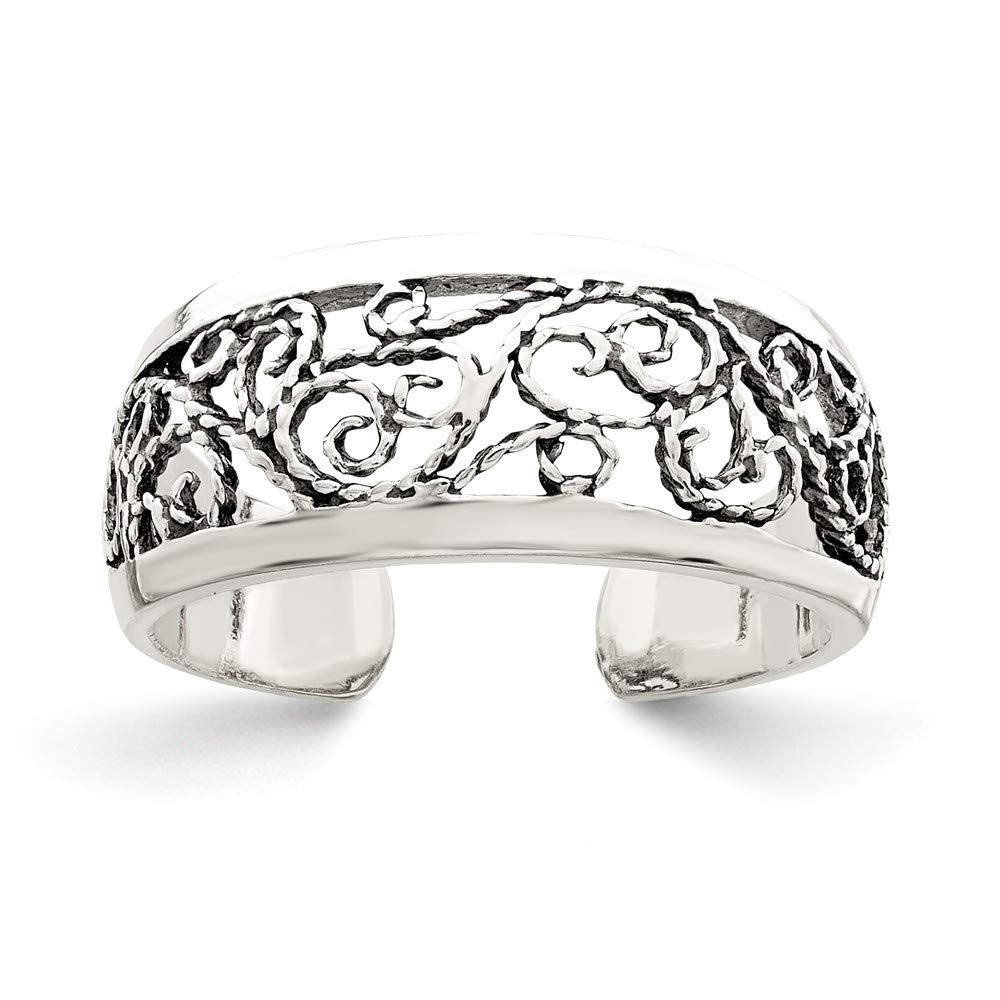 Black Bow Jewelry Antiqued Textured Ornate Toe Ring in Sterling Silver