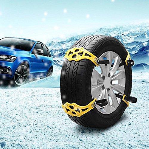 Rupse Chaînes à Neige Anti-dérapant 8 Pièces Facile à Installer Adaptable à la Plupart de Voitures / SUV / Camion avec Largeur de Pneu 165mm-265mm + une Paire de Gants (Jaune) high-quality