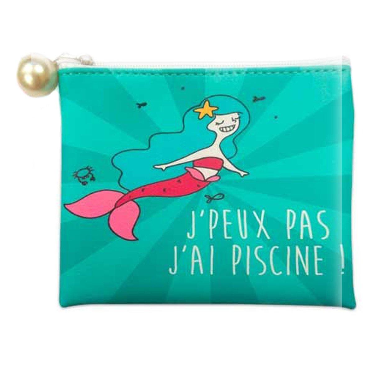Les Tré sors De Lily [Q0870] - Porte-monnaie 'Sirè nes' turquoise (J'peux pas, j'ai piscine !) - 11.5x10 cm j' ai piscine !) - 11.5x10 cm 030801LES062018Q087000