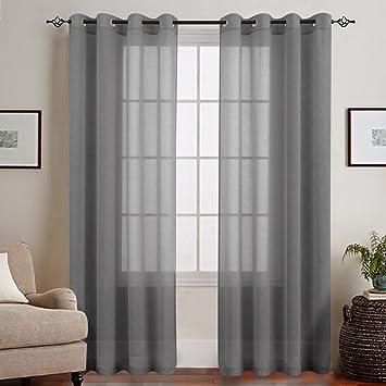 Bevorzugt Amazon.de: TOPICK Grau Lange Gardinen Vorhang für Wohnzimmer AH35