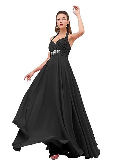 Dresstells New Sexy Chiffon Wedding Dresses Prom Dresses Evening Dress Reception Dresse Halter Dress with Beadings