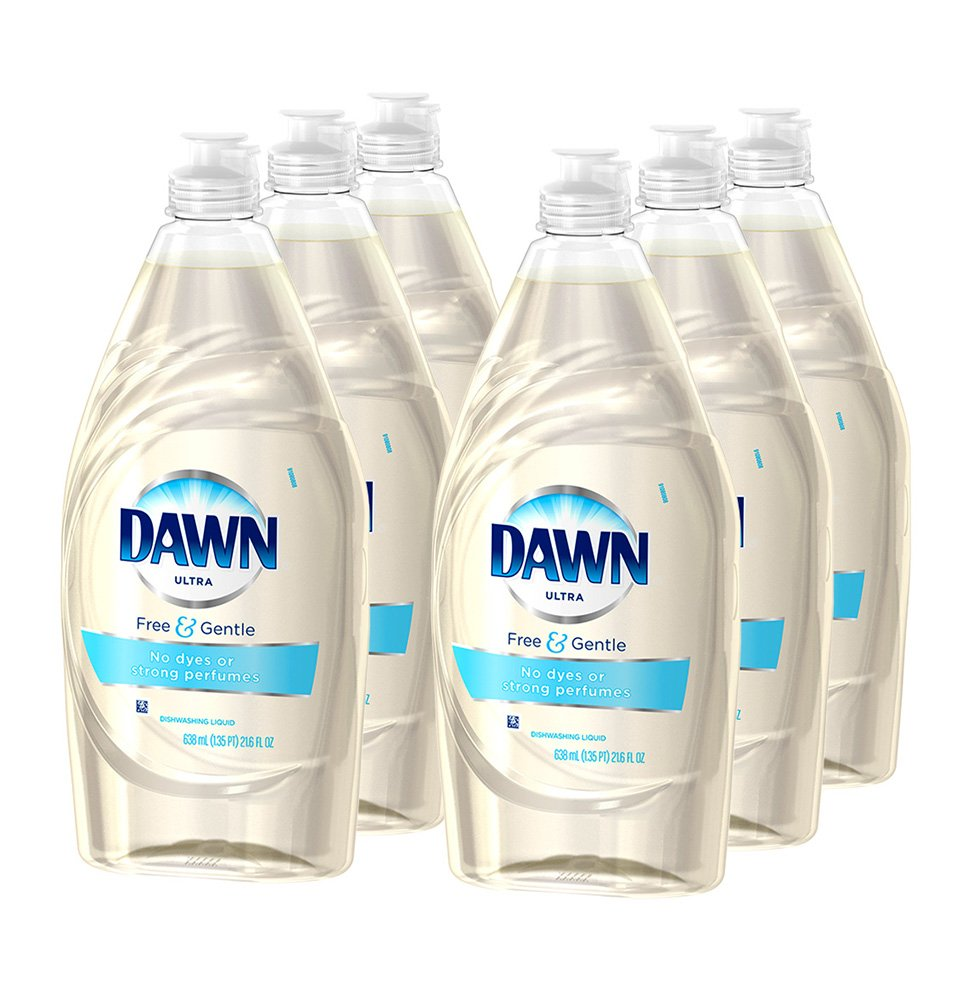 Dawn Ultra Dish Liquid Free & Gentle Sparkling Mist, 21.6 Ounces (Pack Of 6
