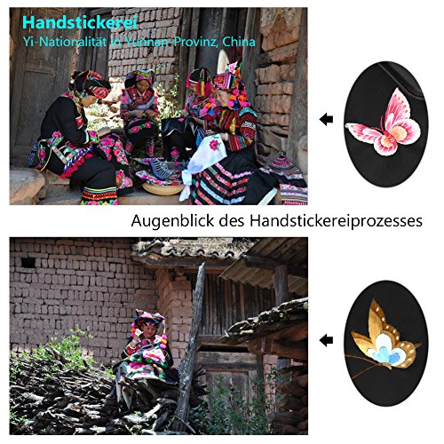 en dos à chinois la bandoulière à broderie à broderie papillon main sac sac Femmes cuir style à sac fleurs dos véritable XAZwP676
