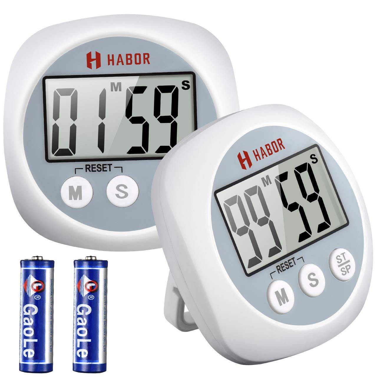 Habor 2 Pack Kitchen Timer Digital Cooking Timers, Big Digits Loud Alarm Magnetic Backing Stand on/off Switch, Minute Second Count up Countdown timer for Kids Baking Exercise Game (Batteries Included)