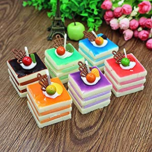 Nice purchase 6pcs Realistic Artificial Simulation Cake Assorted Faux Fake Food Model Home Kitchen Staging Party Toy Dessert Photography Props Home Decoration Display Square Cake 1