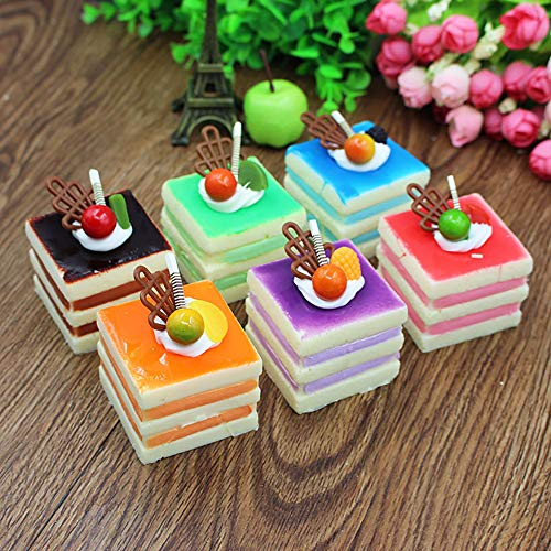 Nice purchase 6pcs Realistic Artificial Simulation Cake Assorted Faux Fake Food Model Home Kitchen Staging Party Toy Dessert Photography Props Home Decoration Display Square Cake ()