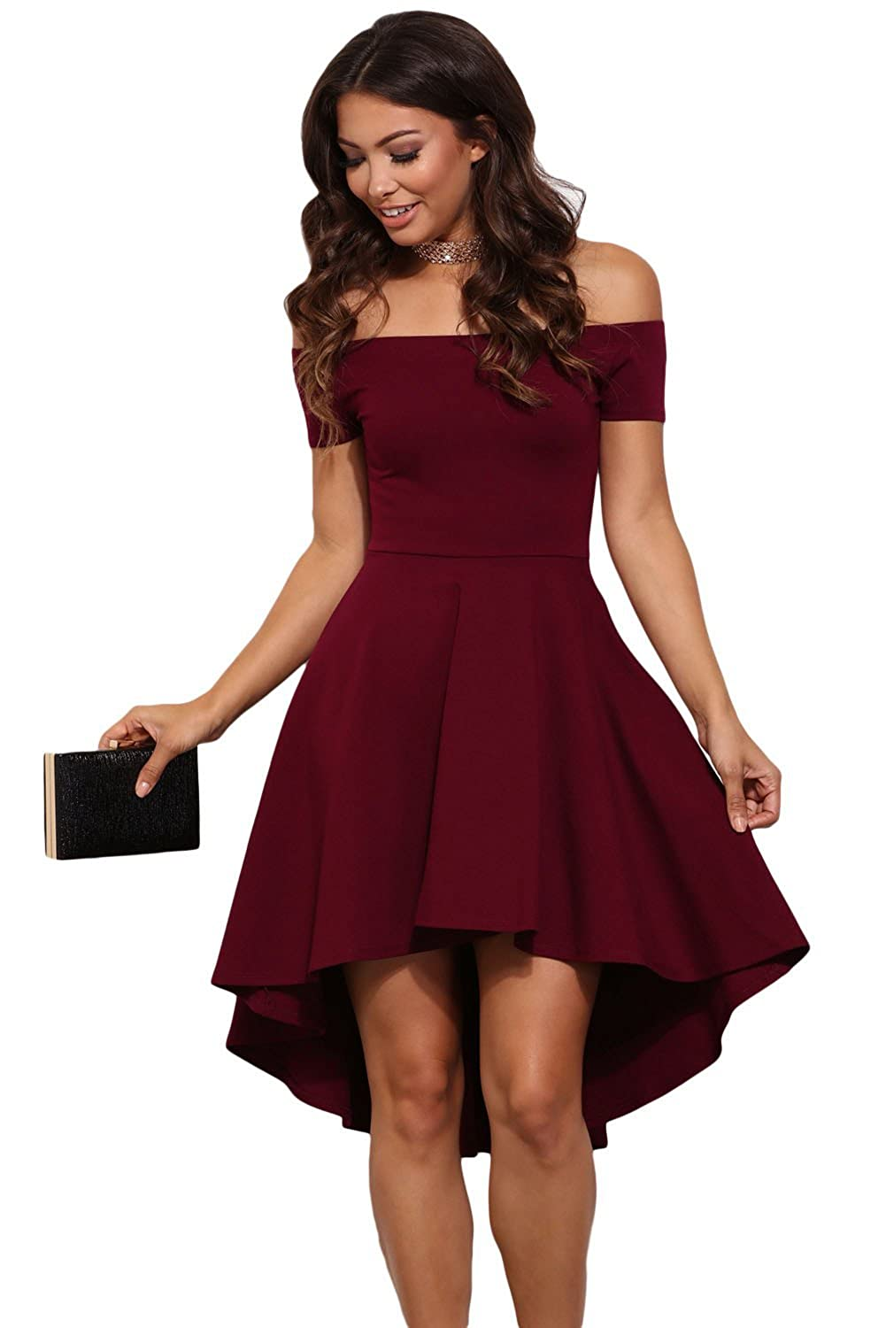 Boldgal Women s Off-Shoulder Skater Dress (Red)  Amazon.in  Clothing    Accessories 6069b98f23