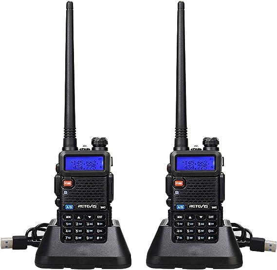 Retevis RT5R Walkie Talkie Profesional, Banda Dual Largo Alcance 2 Vías Radio con Cargador de USB, 128 Canales Radio VOX FM Transceptor Portátil de ...
