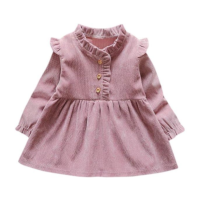 ba9108a06 Mitlfuny Primavera Verano Vestido Ropa Niñas Bebé Princesa Vestidos de  Manga Larga Oreja de Madera Faldas