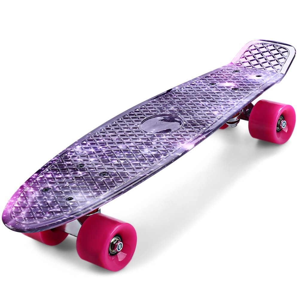 SZYT 22 inch four wheel skating printed fish plate single rocker children skateboard dance board CL-95 purple starry sky by SZYT (Image #3)