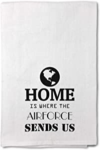 Style In Print Custom Decor Flour Kitchen Towels Home is Where The Airforce Sends Us B Military Air Force Military Air Force Cleaning Supplies Dish Towels Design Only