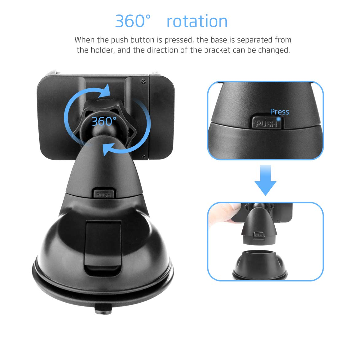 Universal Silicone Sucker Cell Phone Car Mount for Dashboard and Windshield MAXAH Phone Holder for Car S8 S7 Edge S6 S5 4352722322 7 7 Plus 6s Plus 6s SE Samsung Galaxy S9 S9 Compatible with iPhone X 8 8