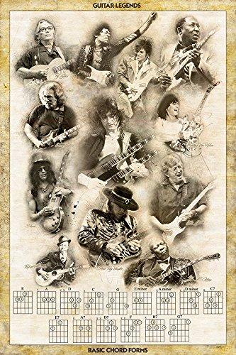 Guitar Legends Basic Chords Print (Jimmy Page, Prince, Slash, Eric Clapton, Muddy Waters, Ry Cooder, Eddie Van Halen, Jimmy Hendrix, Robert Johnson...) Retro Poster 24