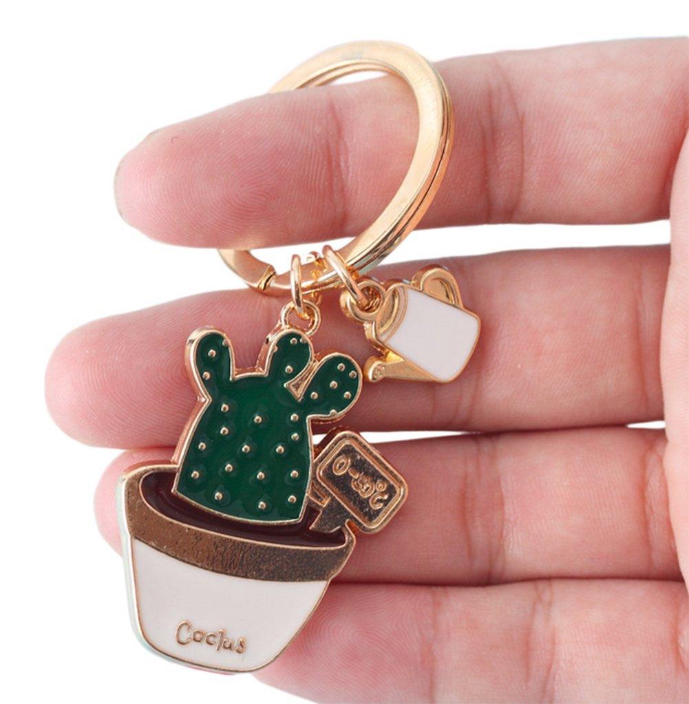 Lumanuby 1x Trousseau sac porte clé Créatif Simple Multifonctions Forme du cactus Plantes succulentes Key Ring Pendentif sac à dos Keychain voiture good