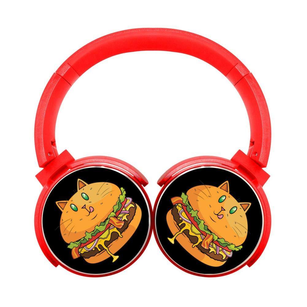 DNpni Hamburger Cat Wireless Headset Stereo Heavy Bass On-Ear Bluetooth Headphone HiFi with Mic Red