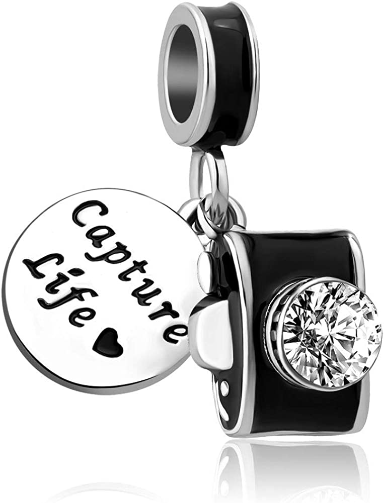 Charmed Craft Capture Life Camera Charms Sentimental Snapshots Memory I Love to Travel Beads for Bracelets