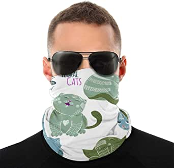Cute Cartoon Vector Cats Characters With Flowers Face Mask Bandanas Neck Gaiter Headwear