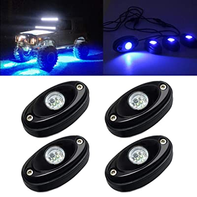 4 Pods LED Rock Light Kit for Jeep ATV SUV Offroad Car Truck Boat Underbody Glow Trail Rig Lamp Underglow LED Neon Lights Waterproof 12V 24V - Blue: Automotive