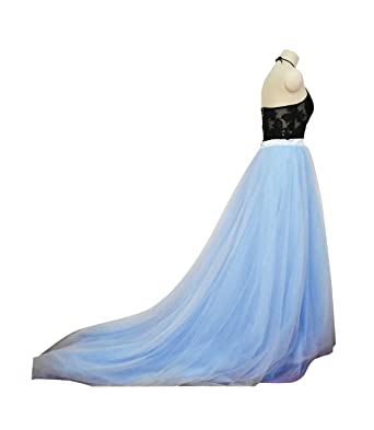 b4d6d9bd9e flowerry Maxi Tutu Tulle Wedding Train Skirt Detachable Long Train  Overskirt XS Blue