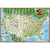 Children's map of the United States (Laminated Illustrated Wall Map of the US for Kids)