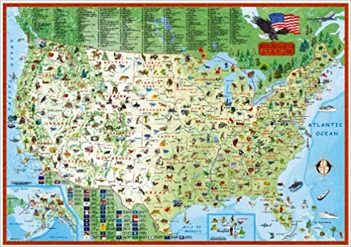Childrens map of the United States Laminated Illustrated Wall Map