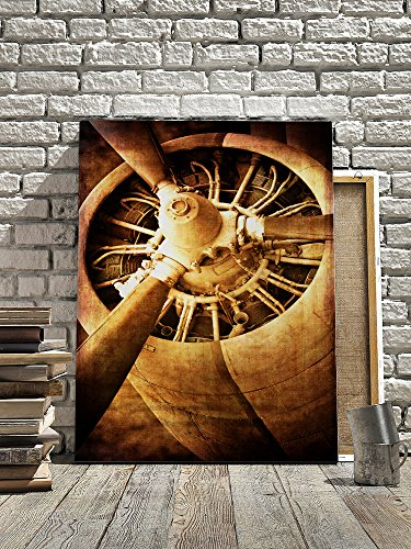 Industrial Style Retro Dilapidated Fighter Yellow Rusted Turbine-type Jet Clear Engine Plane Head Ready To Roar Into The Sky for Business Office Room or Livingroom Ready to Hang (16x24) by Pixel