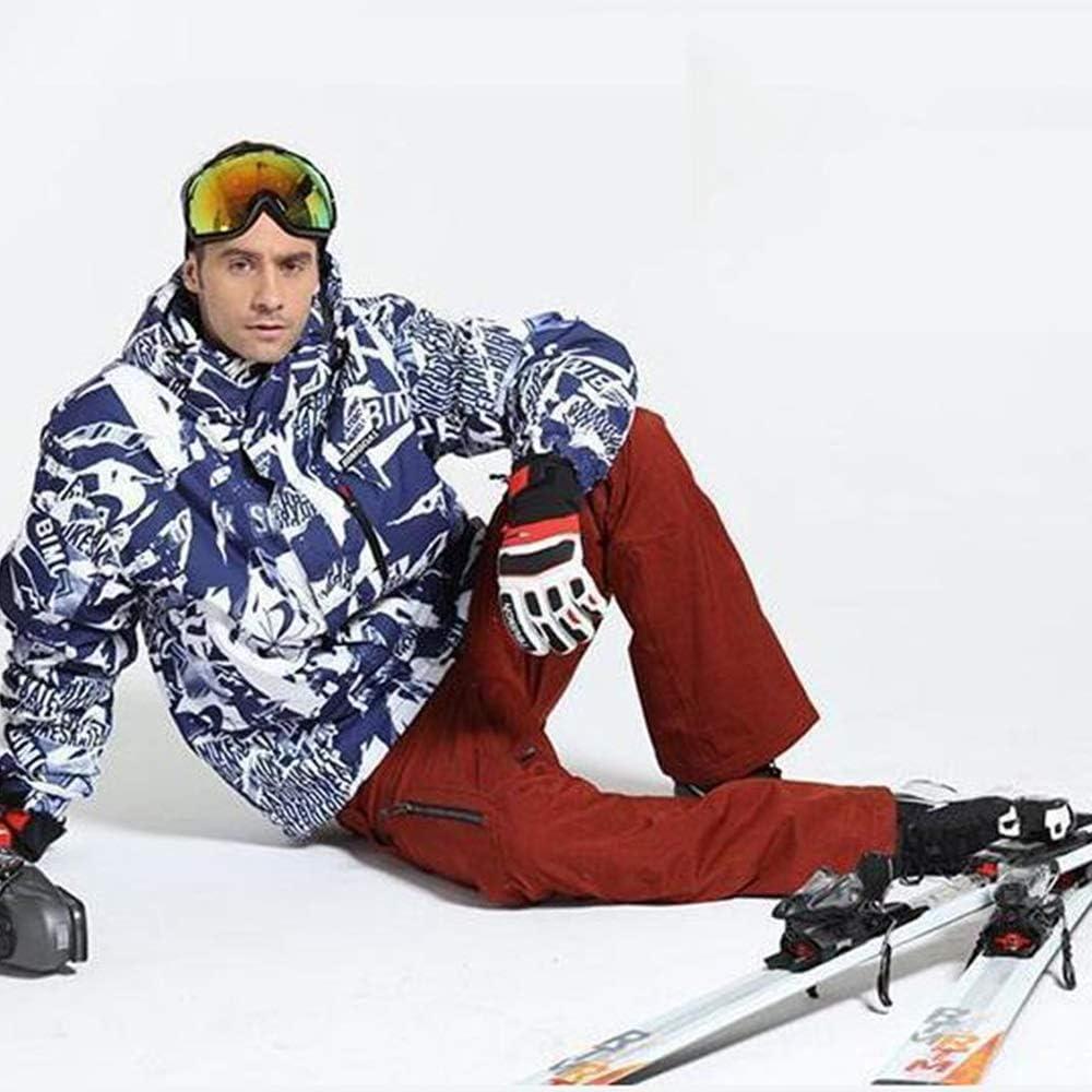 メンズスキーウェア スキースーツシングルボードダブルボード防風防水ウォームアウトドアコットン服 スキー休暇用 (色 : 青, サイズ : L) 青 Large
