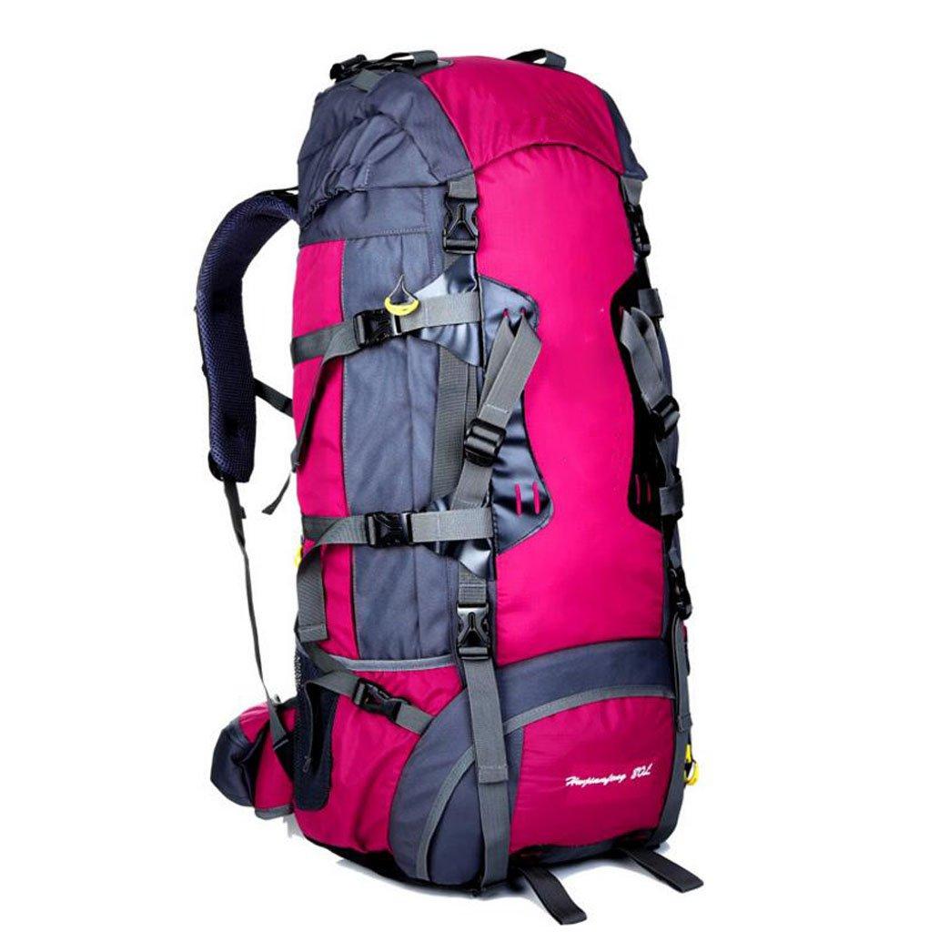 JBHURF Große Kapazität 80L Outdoor-Bergsteigen Tasche professionelles Tragesystem Gelb (Farbe : Rose)