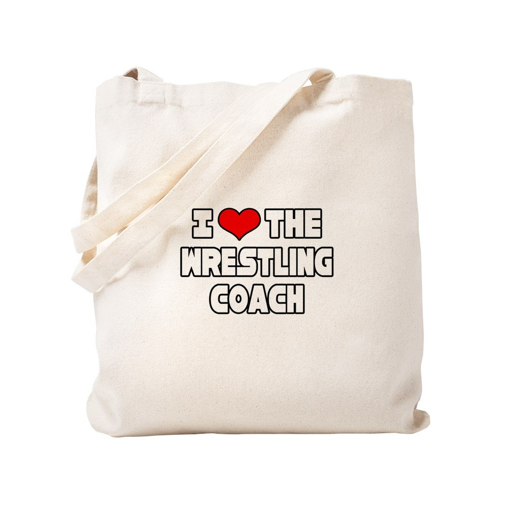 CafePress - I Love The Wrestling Coach - Natural Canvas Tote Bag, Cloth Shopping Bag