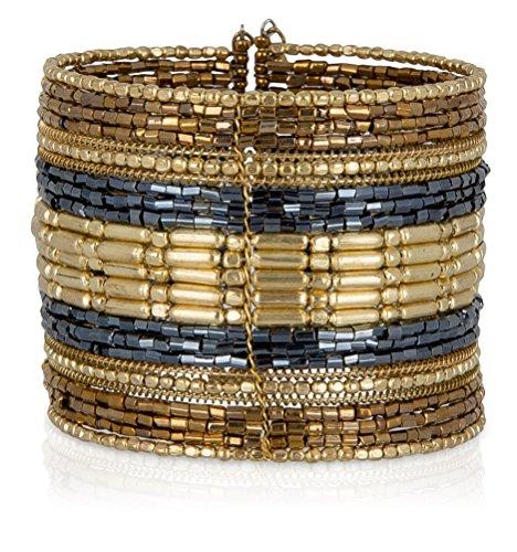 SPUNKYsoul Gold, Gun Metal Gray Cuff Bracelets for Women Collection (Gold/Dark Gray) ()