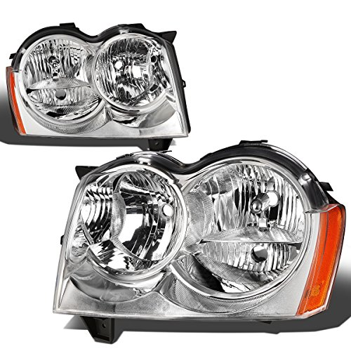 For Jeep Grand Cherokee WK 3rd Gen Pair of Chrome Housing Amber Corner Headlight